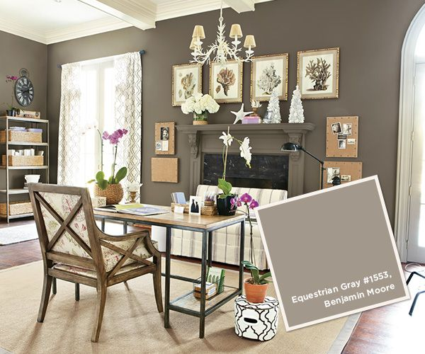 Benjamin Moore Equestrian Gray. This dark grayed brown has a slight green undertone and  will give you a rich, masculine look that needs lots of creamy white to balance it.