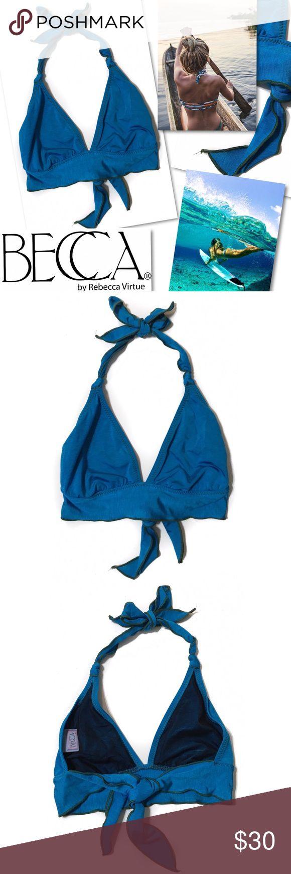 BECCA BLUE WIDE BAND SWIMSUIT HALTER BIKINI TOP BECCA  BLUE WIDE BAND SWIMSUIT HALTER BIKINI TOP  SZ D / DD  RETAILS $58 BECCA Swim Bikinis