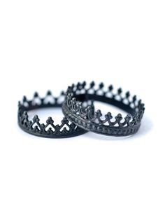 These King and Queen crown rings are for celebrating the moment when the King meets the Queen. Unique oxidized silver rings for the edgy and fun chic.