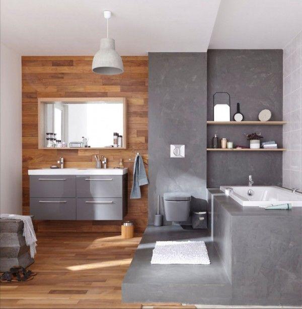 Mélange bois et béton ciré dans la salle de bain  http://www.homelisty.com/beton-cire-salle-de-bain/