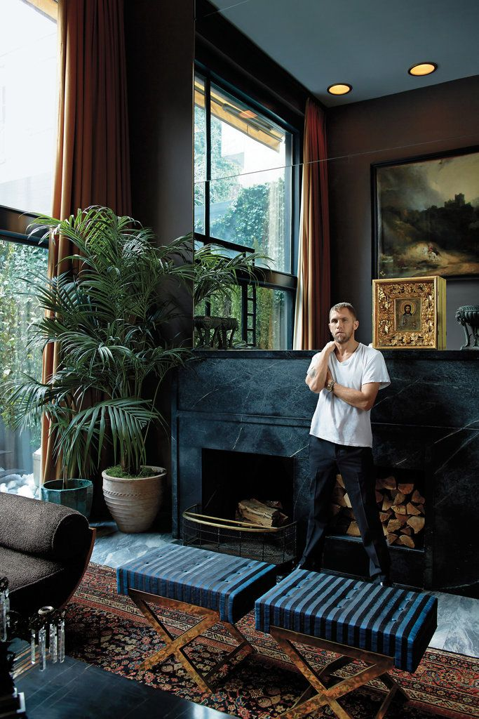 James Oakley in the living room of his townhouse in the West Village | T Magazine | Christopher Sturman