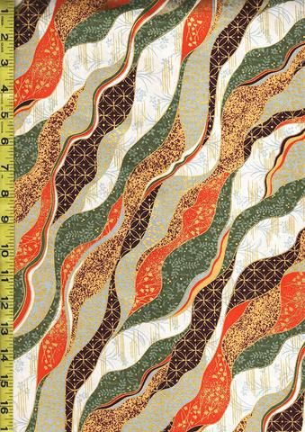 *Quilt Gate - Chiyogami Collection - Wavey Ribbons - HR3200-16C - Red, Brown, Orange, Sage Green, Gold & White