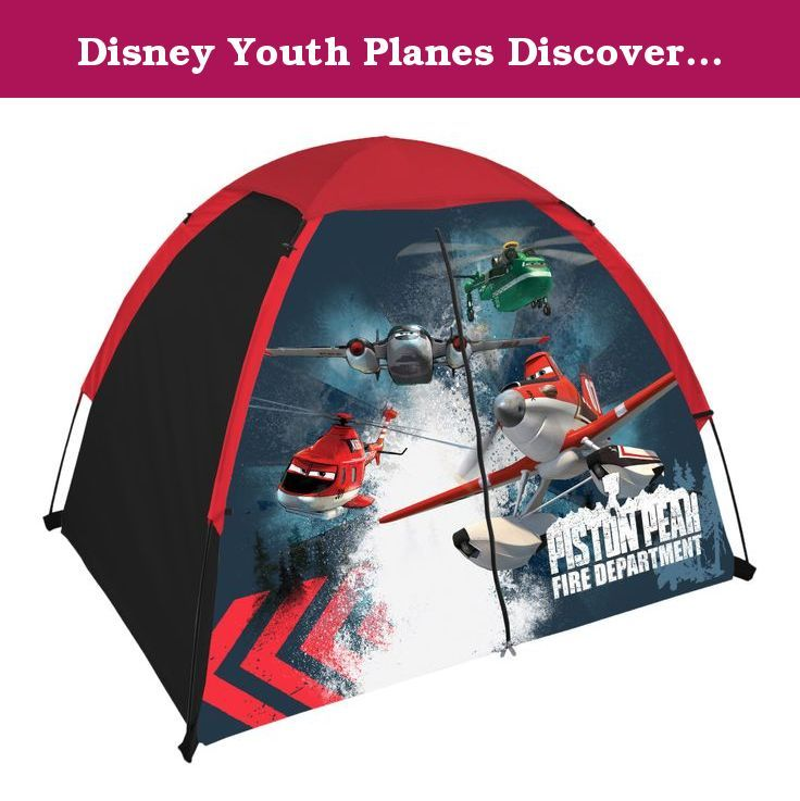 "Disney Youth Planes Discovery Kit Tent. Discovery kit features a dome tent without tent floor with fiberglass poles for easy set up and tear down. Features mesh ceiling and rain fly. Sling back backpack included. Age range: 4 & up, tent Dimensions: 48"" L x 36"" w x 36"" H."