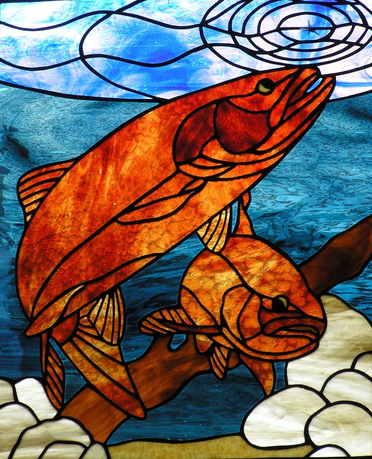 40 best fresh water fish images on pinterest glass for Stained glass fish patterns