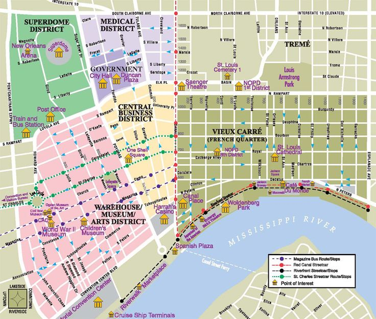 New Orleans Onde Se Hospedar E O Circular Vacation French: Map New Orleans Tourist Information At Usa Maps