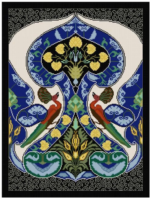 William Morris Bird Tile adaptation Cross stitch by Whoopicat, $8.00