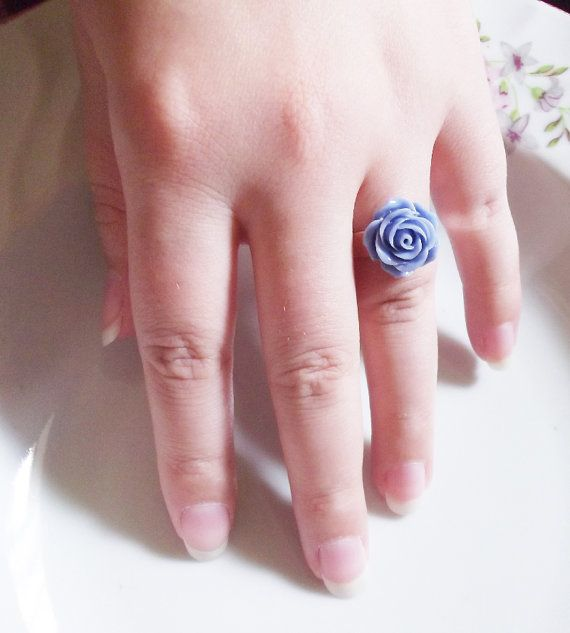 blue rose ring by rabbitsillusions on Etsy