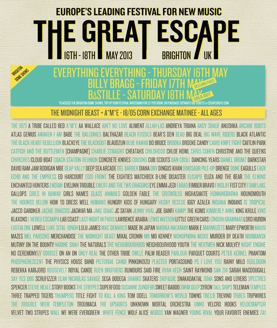 The Great Escape Line-Up 2013 #thisfestivalfeeling