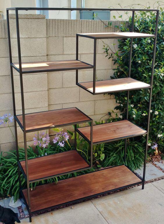 Tall Mid Century Modern Metal Modular Bookshelf with floating shelves, shelving unit, bookcase, records shelf matte black, custom, walnut