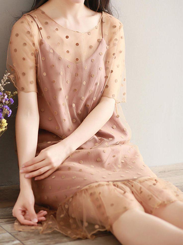 S-3XL Casual Women Dot Two Piece Dress at Banggood