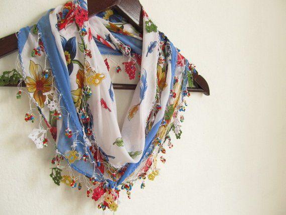 cotton scarf- Turkish Yemeni OYA Scarf -woman scarves-handmade scarves on Etsy, $21.90