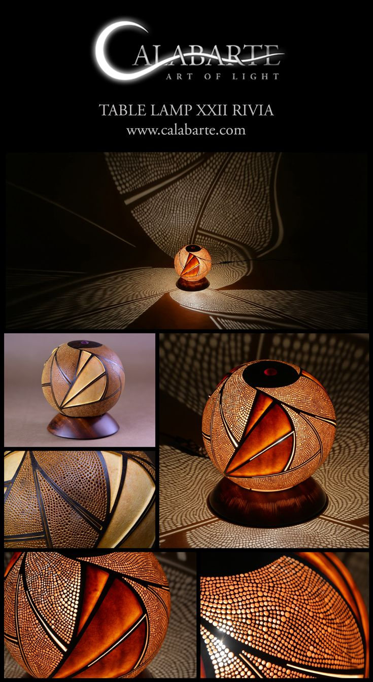 Table lamp XXII Rivia by Calabarte. Lamp is fully handcrafted, made of senegalese gourd.