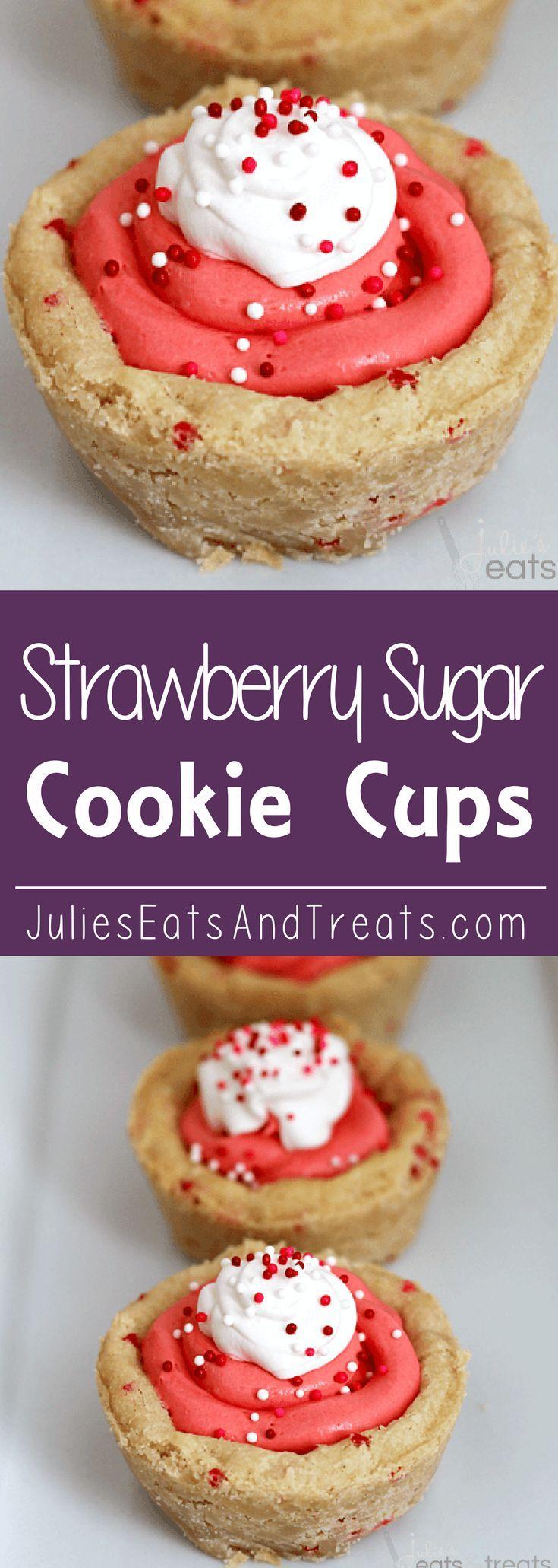 Strawberry Sugar Cookie Cups ~ Soft Pillsbury Sugar Cookie Dough filled with Strawberry Marshmallow Creme!