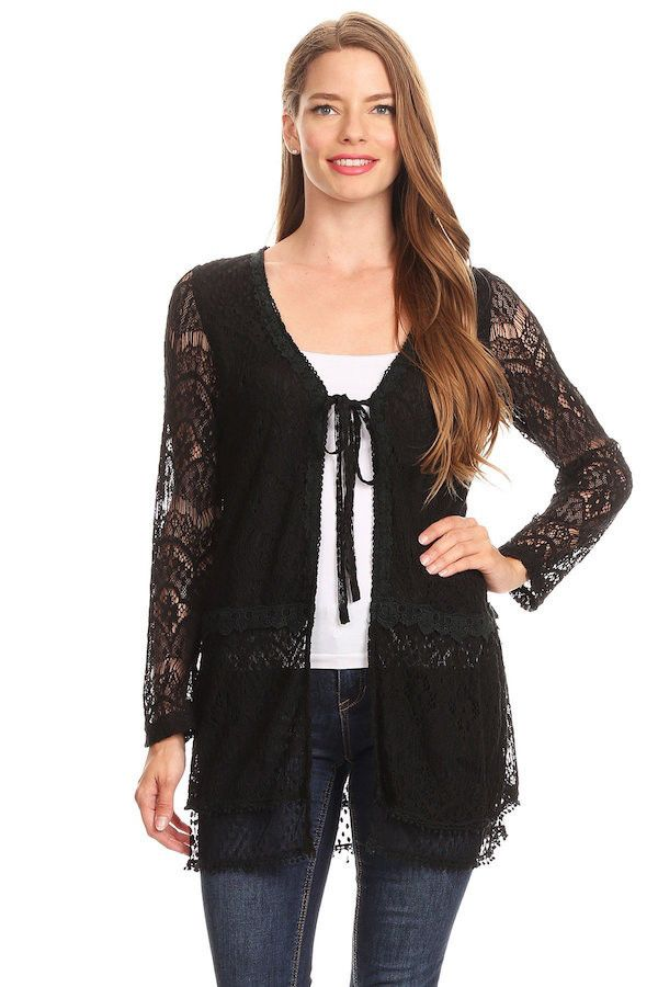 37617-Black, lace cardigan | Black laces, Lace jacket and Black