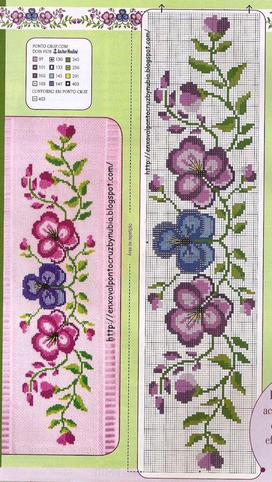 Cross stitch violet flowers paternt
