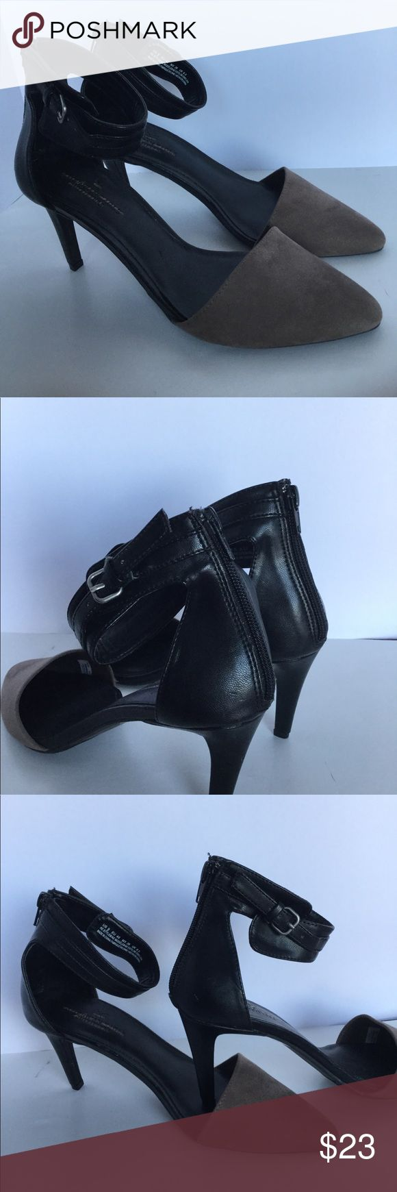 """NWOT American Eagle size 9 suede-leather heels NEW without tags American Eagle Outfitters  Size 9 Gorgeous leather-suede heels Brown and black  Closed toe Ankle zipper and adjustable buckle  3"""" heel Rubber sole - padded  These are extremely stunning!  MSRP $89 American Eagle Outfitters Shoes Heels"""