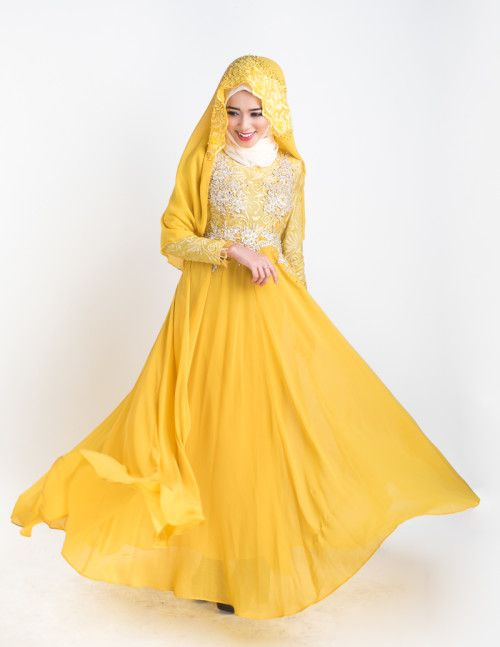 Yellow Embroidered Wedding Dress