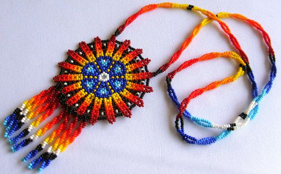 Mexican Huichol Beaded Peyote flower necklace by Aramara on Etsy, $25.00