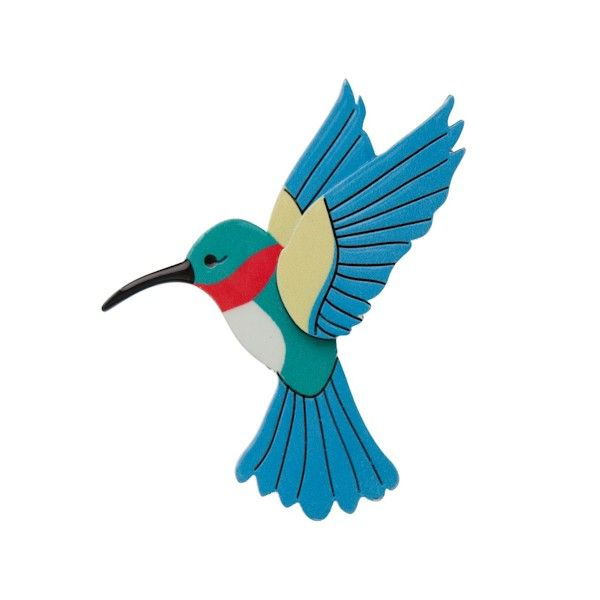 """Limited Edition Hyacinth the Hummingbird brooch in blue (multicolour). """"A messenger of hope... she tirelessly flutters her wings... always in search of the sweetest nectar and never giving in. Hyacinth reminds us to seek out the good in life and see beauty in every day."""""""