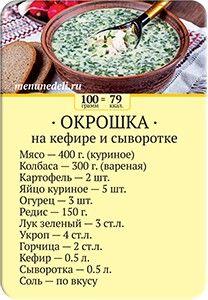 Карточка рецепта Окрошка на кефире и сыворотке