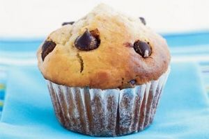 Yummy Choc chip banana muffins. Use half the sugar and half the chocolate and they are still sweet enough. Makes 30 mini muffins for school lunch boxes (cook for 10 min)