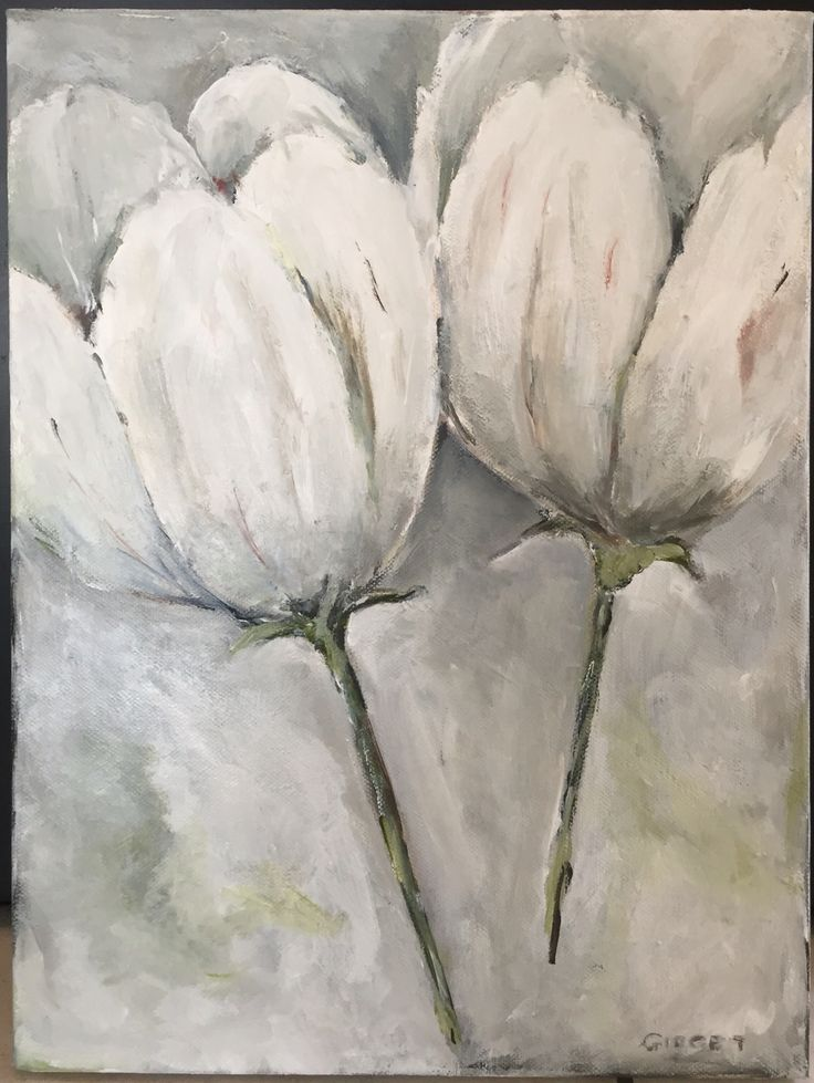 White lilies, painted with acrylic on canvas