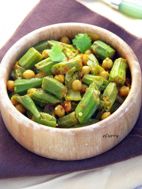 Curried Okra, Chickpeas and Tomatoes 2 Note: also find excellent recipe w/ same title at Epicurious