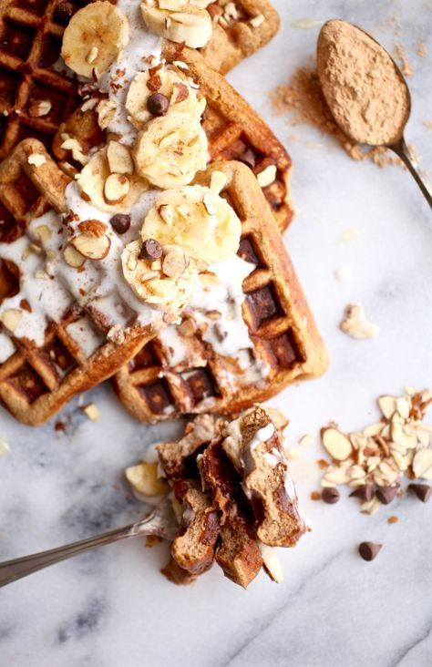 Maca Almond Banana Chocolate Chip Waffles