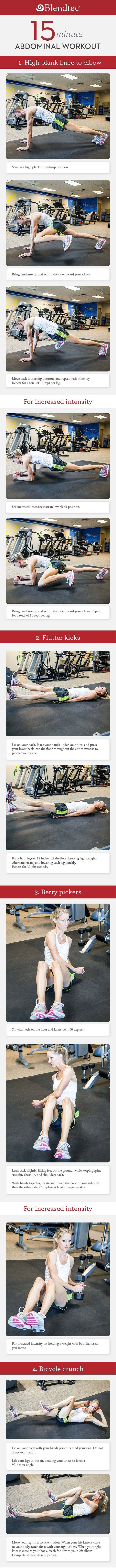 I went to HS with this girl- she's a machine! 15-Minute GOOD Morning Workouts, Part 1- Blendtec Blog.... check it out!