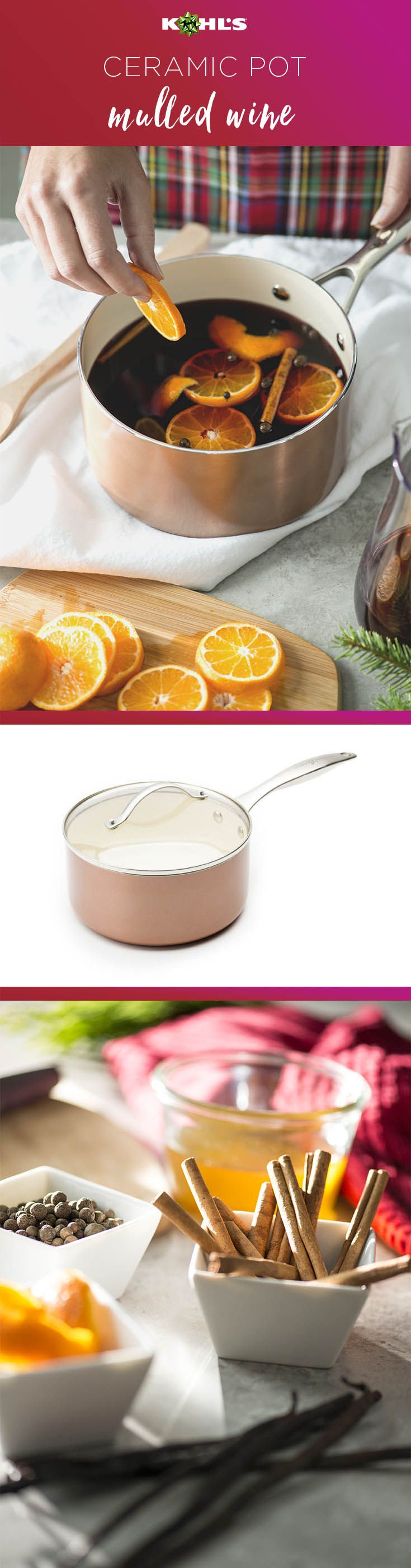 What's warm, delicious and makes the house smell great? Mulled wine! Plus, it's easy to make with just a few ingredients. Shop Food Network ceramic cookware at Kohl's. #winter #shopping