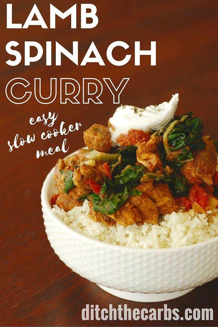 Lamb curry with spinach in the slow cooker. Perfect meal at the end of the day. Packed with nutrition and taste.