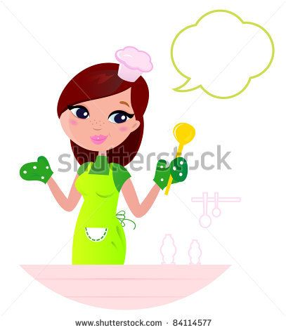 Young beautiful woman with speech bubble cooking in the kitchen Cooking Mother showing something about cooking. Vector cartoon illustration. - stock vector