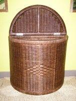 Indo ratanový prádelní koš půlkulatý - tmavý