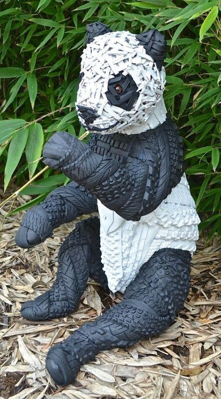 Recycled tire sculptor Blake McFarland uses recycled rubber tires to create amazing life-like sculptures of tire animals. Each Sculpture uses strategically
