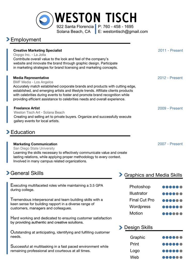 weston tisch print resume