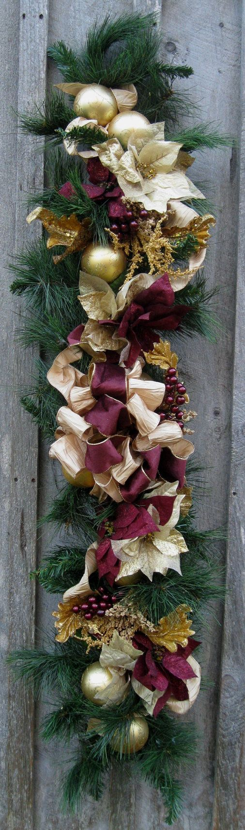 Christmas Garland, Holiday Swag, Elegant Décor, Designer Garland, Victorian Poinsettia Garland