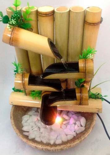 Fonte/agua/cascata/bambu 5 Quedas C/ Ilum.gratis Incensario.