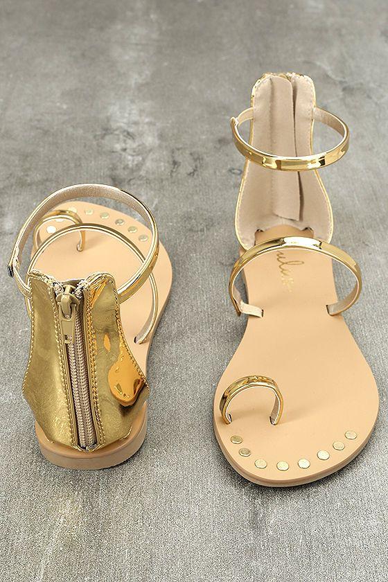 dc05fdb2b2f Achilles Gold Flat Ankle Strap Sandals 3