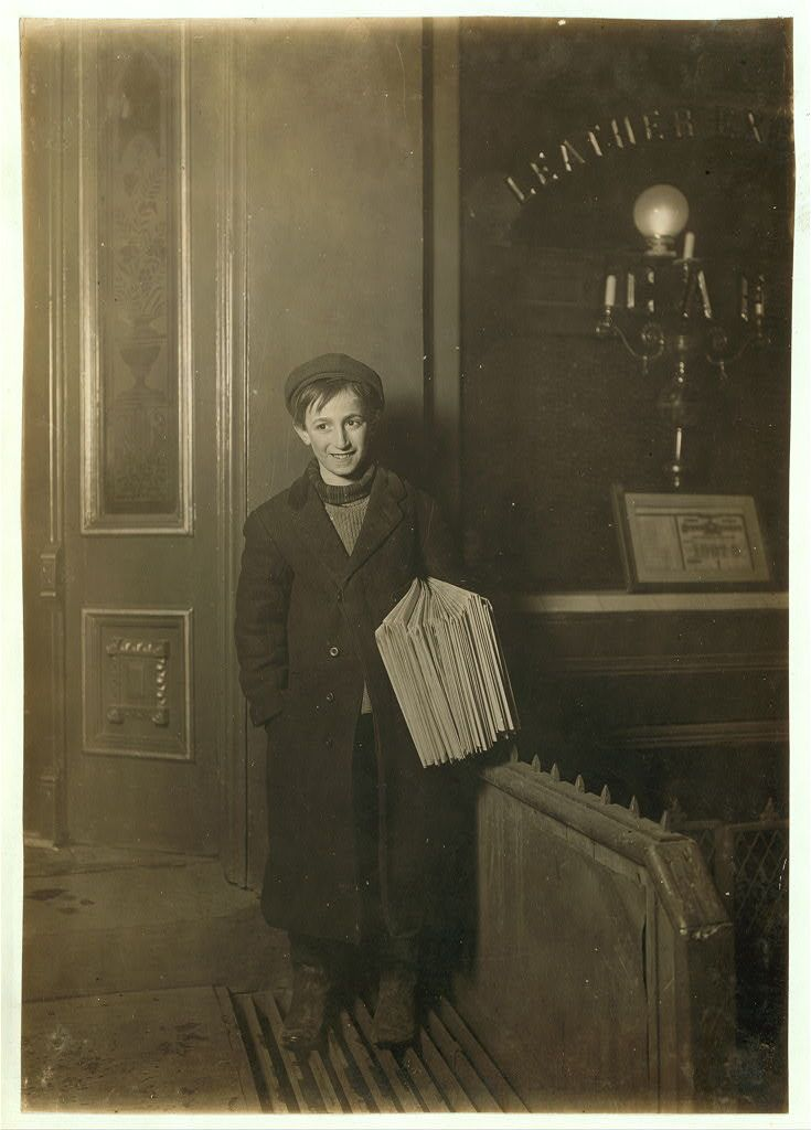 NEWSIE AT NIGHT: William Tobias 80 Grattan St., Brooklyn. 12 yrs old. Boy was starting for the subway to sell papers on trains until 6 A.M. Cause termorrer dey haint no school and I kin sleep all day and sell again at night. All de barkeepers is me customers. 1909.