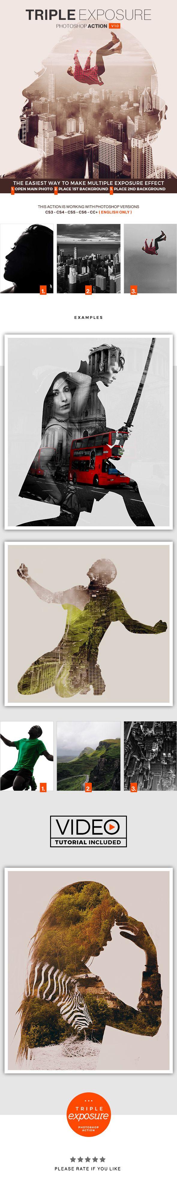 Triple Exposure Photoshop Action — Photoshop ATN #bi #light • Download ➝ https://graphicriver.net/item/triple-exposure-photoshop-action/19446971?ref=pxcr