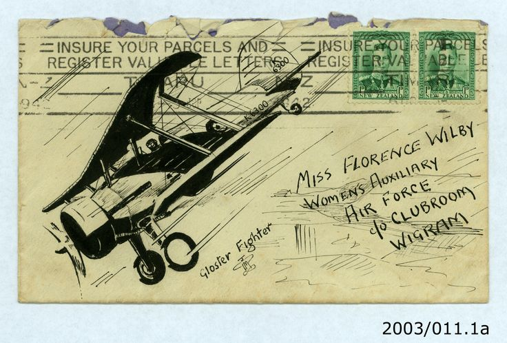 """Gloster fighter"" Jeffrey Timms to Florence Wilby, 1942. From the collection of the Air Force Museum of New Zealand."