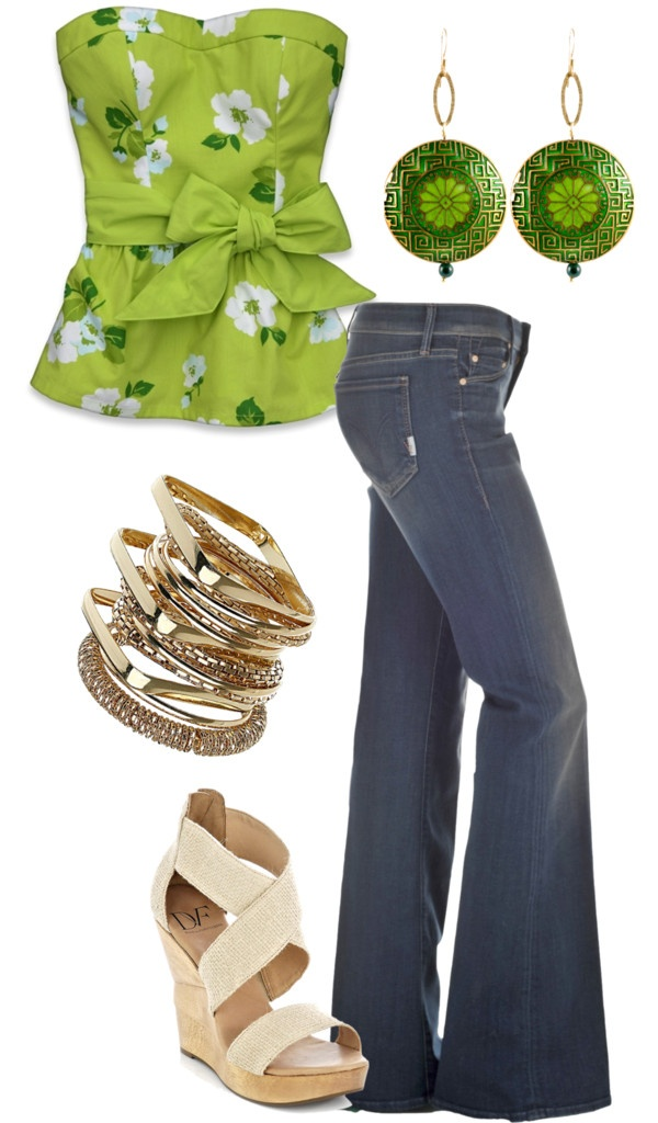 Nice green I like it: Platform, Cute Tops, Summer Outfit, Floral Jeans Outfit, Fashion Styles, Bow Tops, Green Style