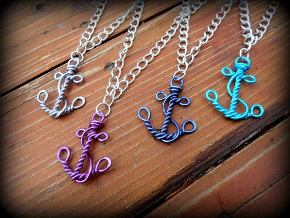 Wire Work Anchor - Nautical Faith and Hope Necklace - Choose your own Color by RefreshingDesigns