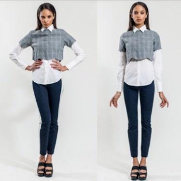 Jennifer Glasgow Designs (Canadian designer). Grey vest $89 Not currently listed in her shop but this pic appeared in a newspaper and I want it. (Update April 2014, Back In Stock: Listed here: http://www.jenniferglasgowboutique.com/clothing/Jennifer-Glasgow/Sorrel-Top.html)