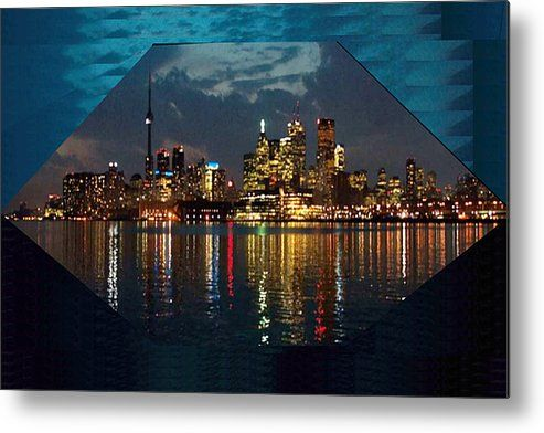 Cn  Tower And Toronto Down Town Water Front Beauty At Night Hexagon Poster  Metal Print By Navin Joshi