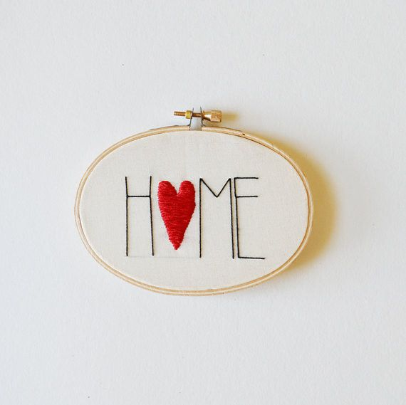Hang it by your front door, right above where you slip off your shoes and enjoy a sigh of relief. Hand-stitched by Sarah K Benning with silk thread on cotton fabric. Wooden embroidery hoop backed with