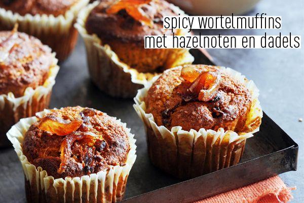 Muffins met verwarmende specerijen: anijs, piment en gember. En terwijl je eet kom je hazelnoot, dadel en wortel tegen. Echte herfstmuffins! Dit recept komt uit delicious. hét bakboek dat we flink gevuld hebben met 132x verleidelijk zoet. Van chocolade-walnotentaart tot Siciliaanse sinaasappelcakejes en kersen-amandelcrumble tot charlottes met peren.Je bestelt hier easy een exemplaar.  spicy … (Lees verder…)