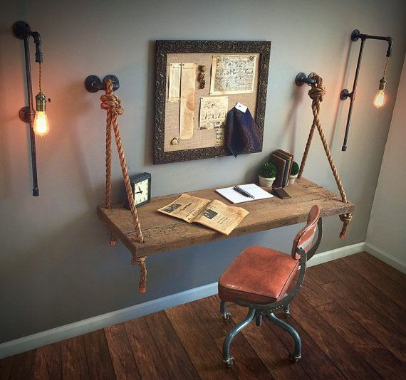 Unique and industrial, this beauty has been created to serve not only your functional needs, but your aesthetic needs as well. This wall-mounted wood