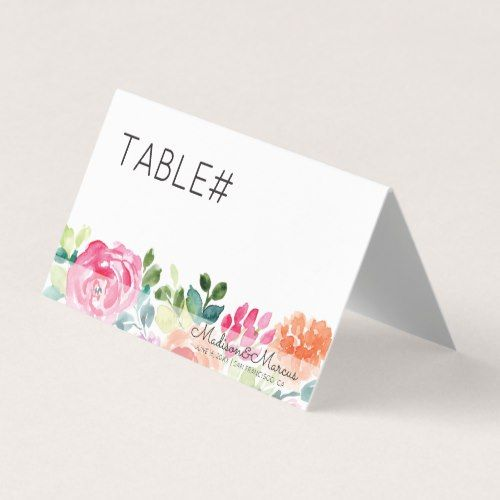 Watercolor Floral Spring Wedding Table Number Place Card Wedding