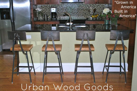 "Reclaimed Wood and Steel Industrial Shop Stool. Made in Chicago. Qty (3) 30"" bar height stools with backs. QUICK SHIPPING on Etsy, $657.00"